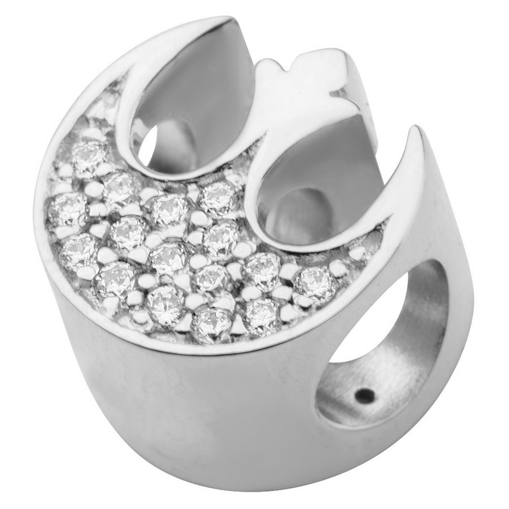 Image of Men's 'Star Wars' Rebel Alliance Symbol 925 Sterling Silver Bead Charm with Clear CZ, Size: Small