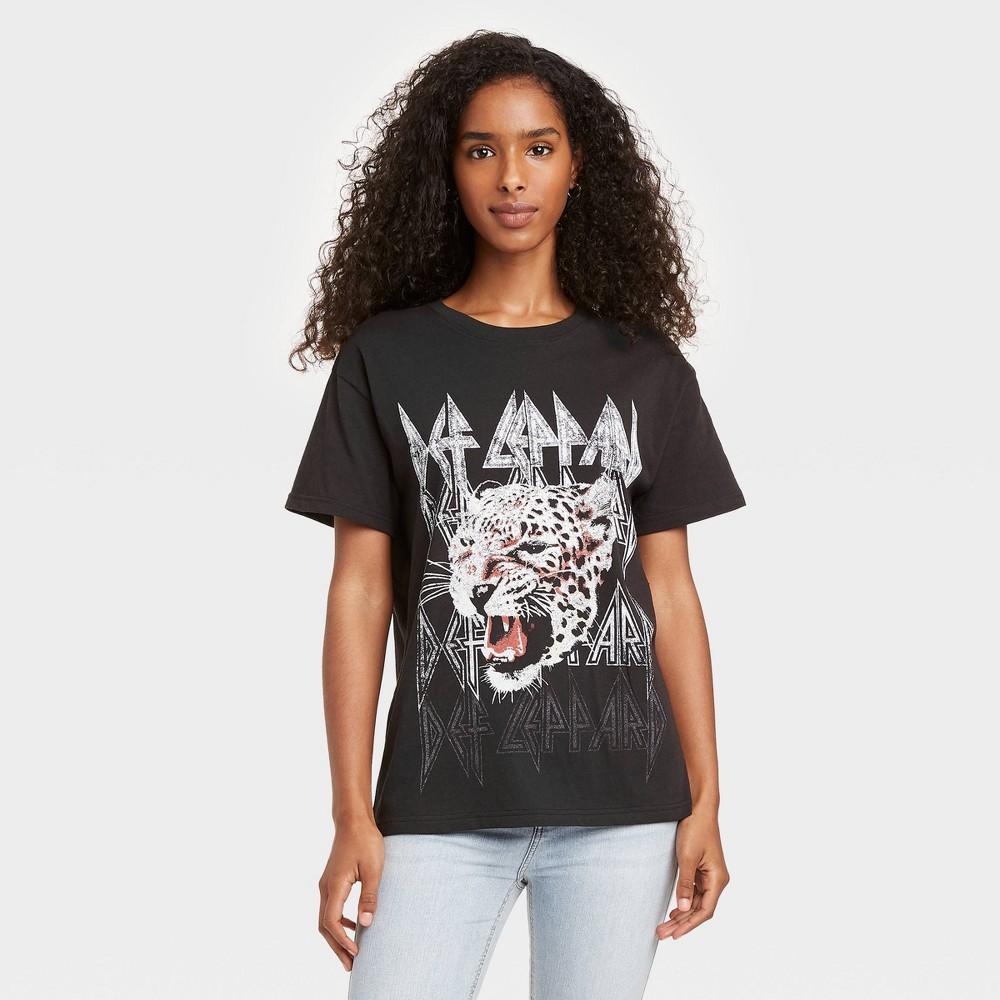 Women 39 S Def Leppard Animal Print Short Sleeve Graphic T Shirt Black L