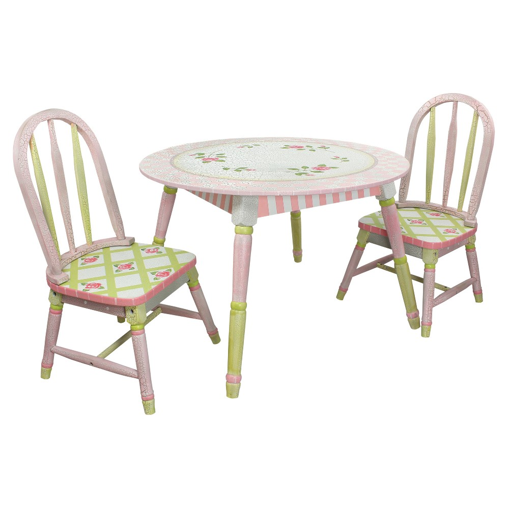 Image of Crackled Rose Table & Chair (Set of 2) - Multi - Colored - Fantasy Fields