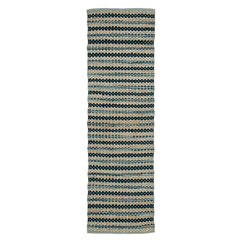 2'2X8' Stripe Woven Runner Blue/Black - Safavieh