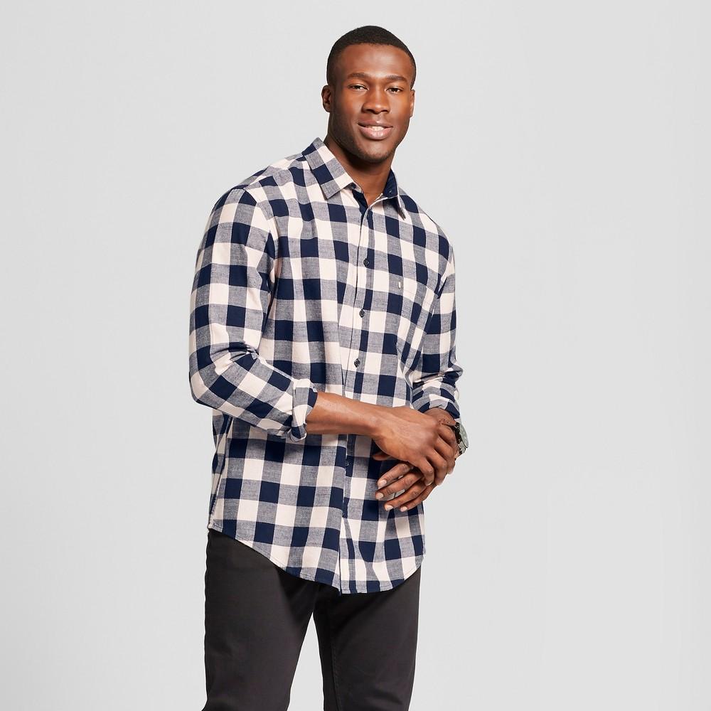 Men's Big & Tall Plaid Standard Fit Cotton Slub Long Sleeve Button-Down Shirt - Goodfellow & Co Dusk Pink 5XBT