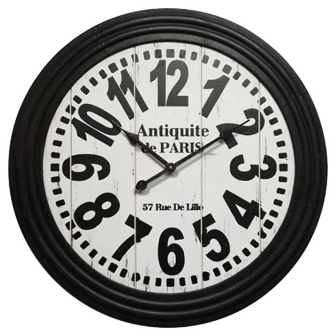Antiquit de Paris Round Wall Clock Black - Infinity Instruments® - image 1 of 4