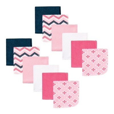 Luvable Friends Baby Girl Cotton Rich Washcloths, Chevron, One Size