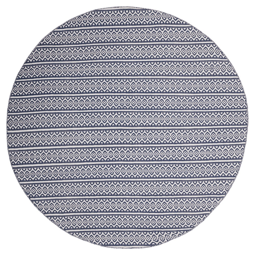 Ivory/Navy (Ivory/Blue) Geometric Woven Round Area Rug - (6' Round) - Safavieh