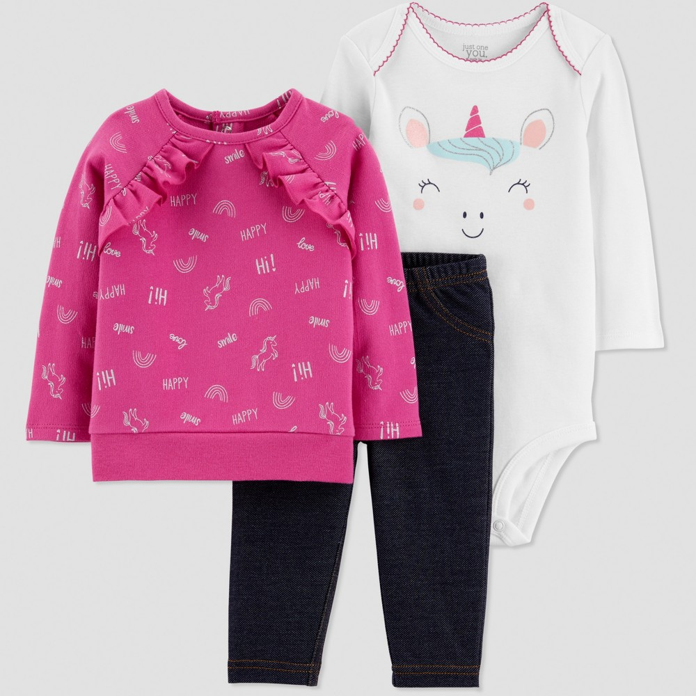 Baby Girls' 3pc French Terry Unicorn Set - Just One You made by carter's Purple/Navy Blue/White 12M