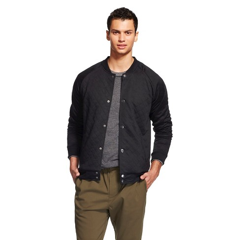 Men's Quilted Athletic-Luxe Bomber Black - No Retreat - image 1 of 2