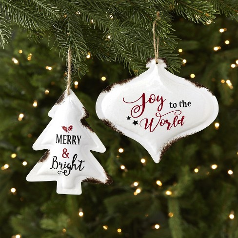 Lakeside Rustic Enamel Christmas Tree Ornaments Merry And Bright Joy Set Of 2 Target