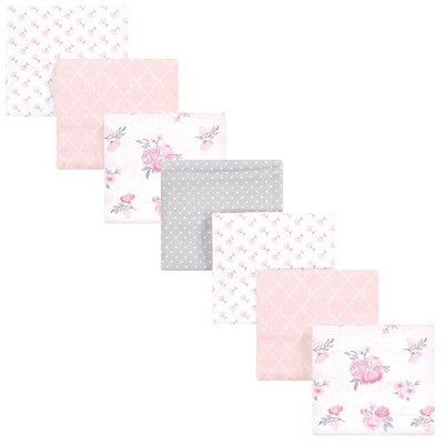 Hudson Baby Unisex Baby Cotton Flannel Receiving Blankets Bundle - Pink Floral One Size
