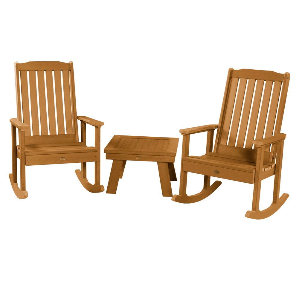 Lehigh 2pk Rocking Chairs with 1 Adirondack Side Table Toffee - Highwood