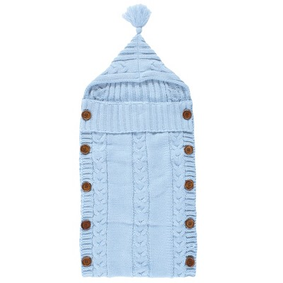 Hudson Baby Infant Boy Knitted Baby Lounge Stroller Wrap Sack, Light Blue, One Size
