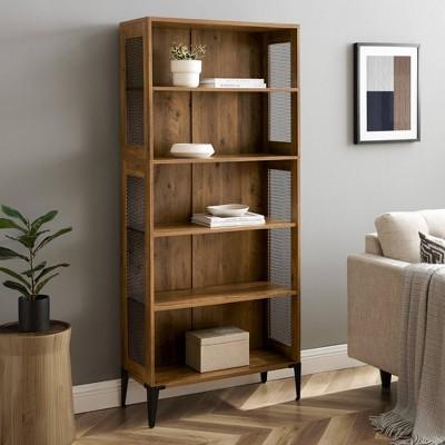 "68"" Grevaldi Industrial Mesh Side Bookshelf - Saracina Home"