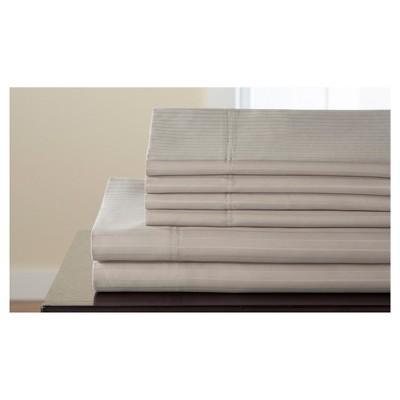 Valencia Stripe Cotton Rich 6pc Sheet Set (Queen)Taupe