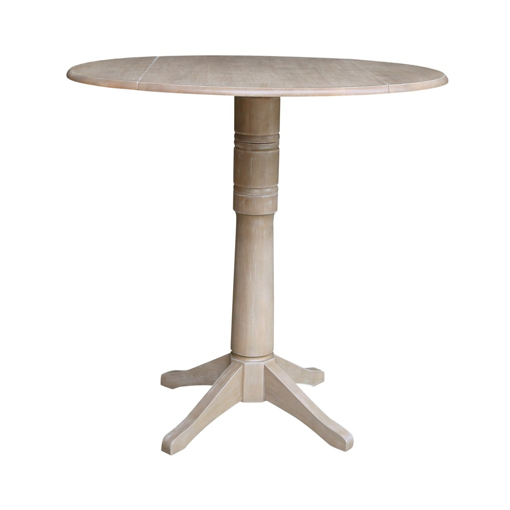 42.3 Alexandra Round Dual Drop Leaf Pedestal Table Washed Gray Taupe - International Concepts