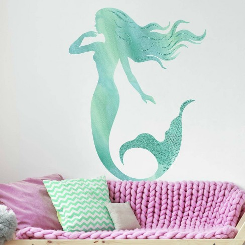 Glitter Mermaid Peel and Stick Giant Wall Decal - RoomMates - image 1 of 4