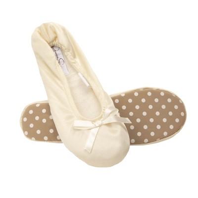 Jessica Simpson Women's Satin Ballerina Yoga Slipper with Bow