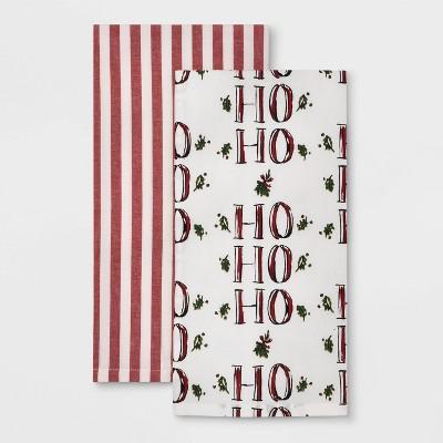 2pk Stripe Tea Towels Red - Threshold™