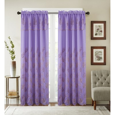 Ramallah Trading Burton Floral Embroidered 54 x 90 in. Single Rod Pocket Curtain Panel with Attached Valance