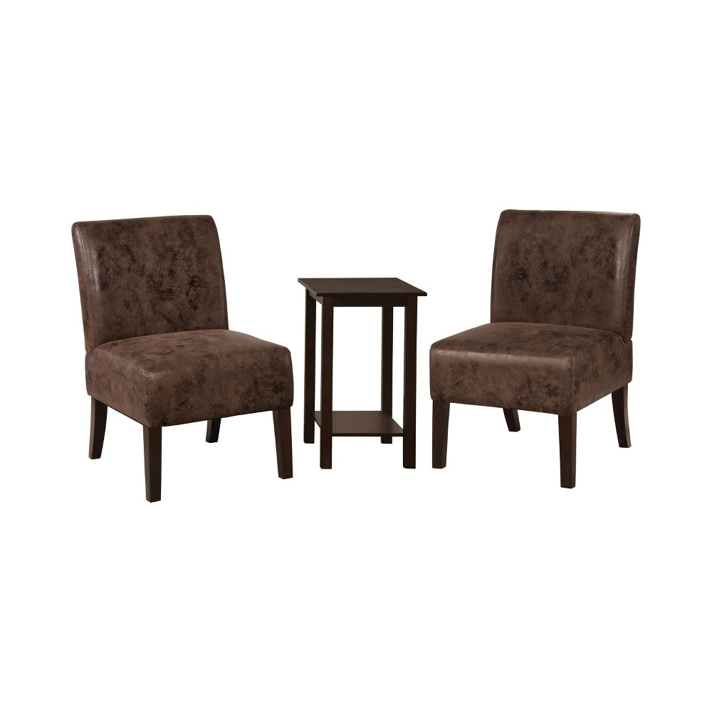 Image of 3pc Chastain 2 Chairs 1 Accent Table Wood & Leatherette Brown - miBasics