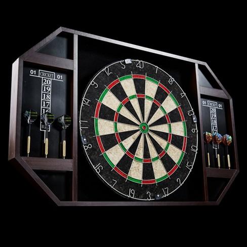 Lancaster 18 Inch Bristle Dartboard Cabinet With 6 Piece Dart Set And Scoreboard Target
