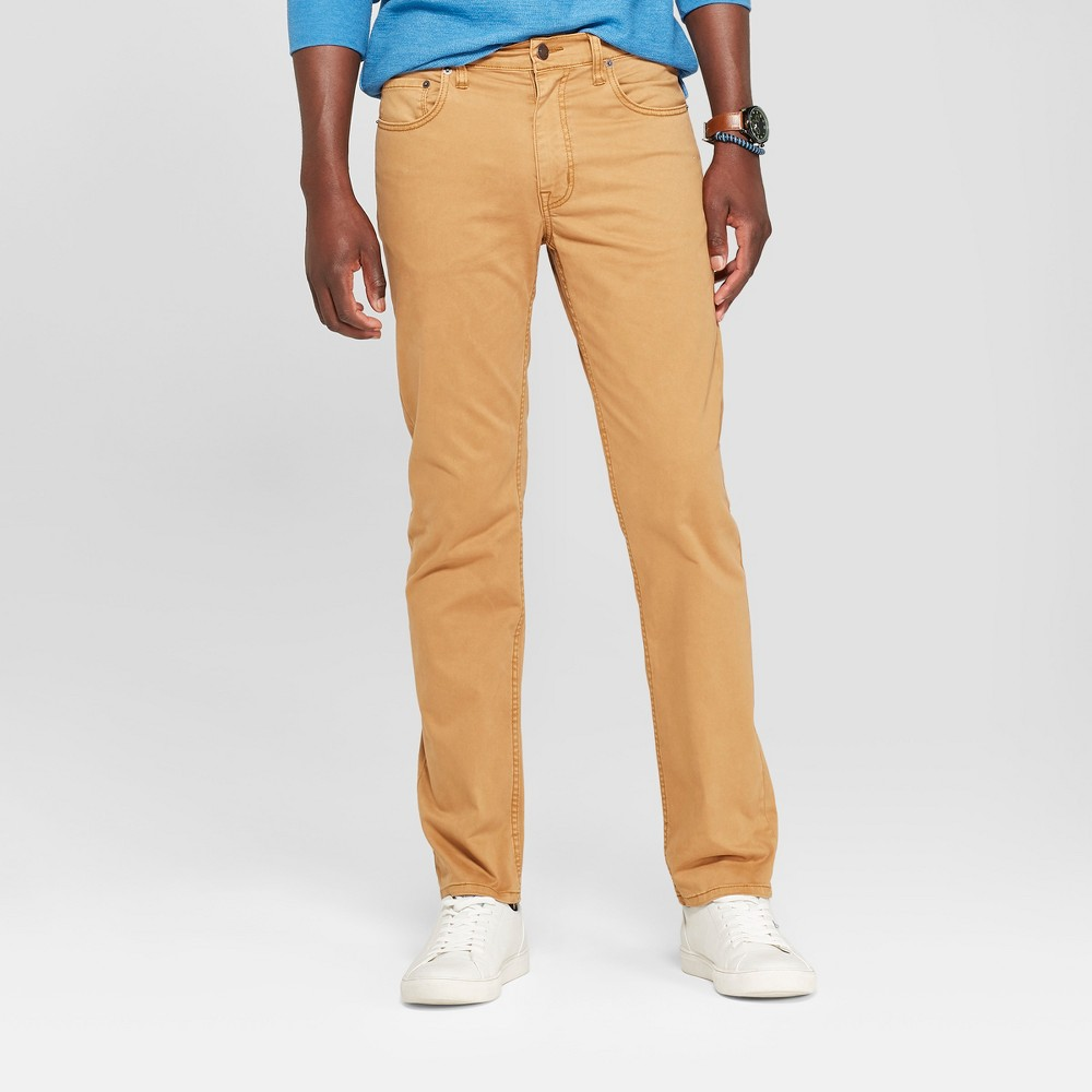 Men's Slim Straight Fit Twill Pants - Goodfellow & Co Khaki 42x30, Brown