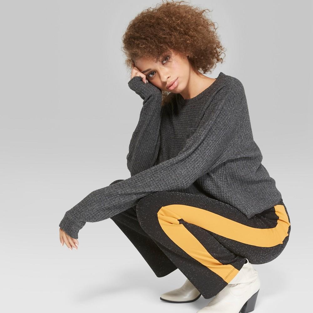 Women's Long Sleeve Cozy Waffle Boxy Top - Wild Fable Black S
