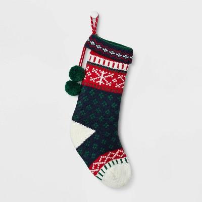 Fair Isle Pattern Christmas Stocking Navy - Wondershop™
