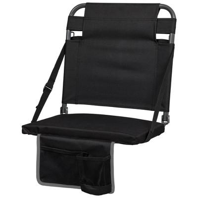 Eastpoint Sports Adjustable Bleacher Backrest Stadium Seat w/ Cup Holder, Black