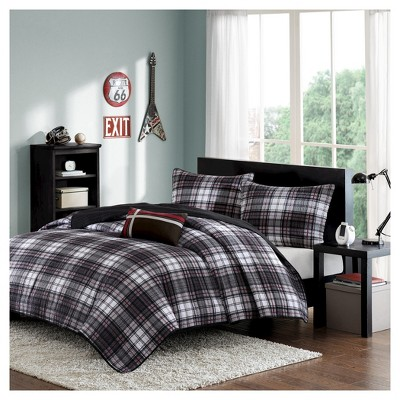 Shawn Plaid Quilted Coverlet Set - Black