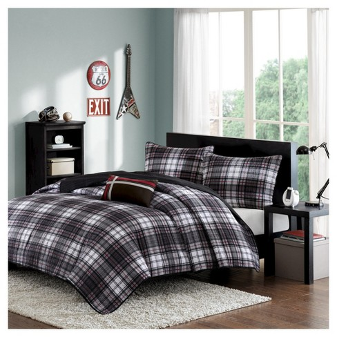 Shawn Plaid Quilted Coverlet Set - Black - image 1 of 6