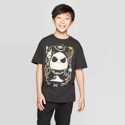 Boys' The Nightmare Before Christmas Jack Skellington Short Sleeve T-Shirt - Black