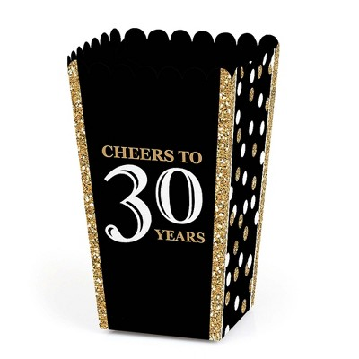 Big Dot of Happiness Adult 30th Birthday - Gold - Birthday Party Favor Popcorn Treat Boxes - Set of 12