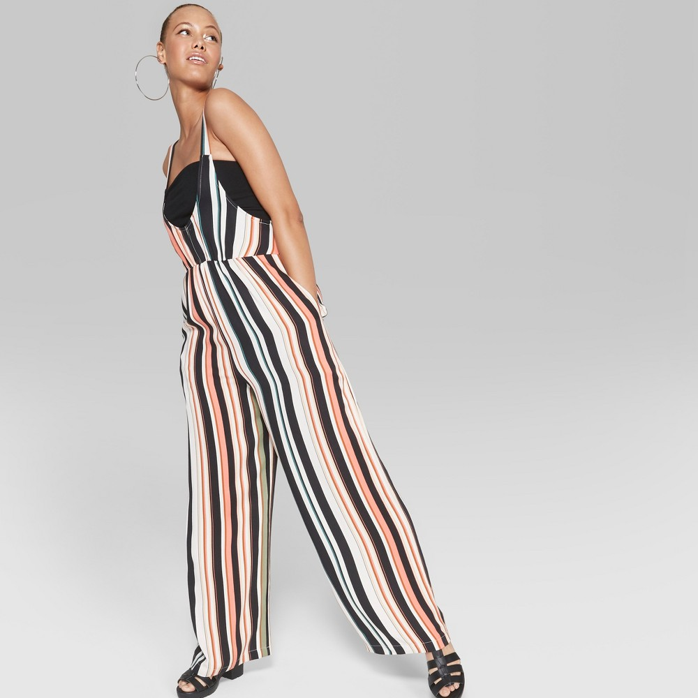 Women's Striped Sleeveless Woven Jumpsuit - Wild Fable S, White