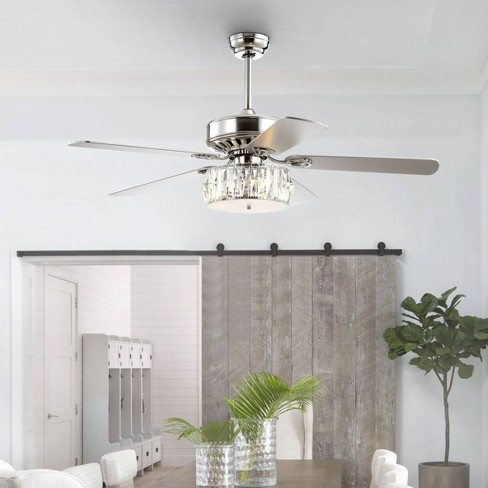 52 Led Crystal Prism Drum Ceiling Fan With Remote Silver Jonathan Y Target