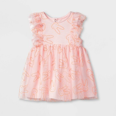 Baby Girls' Bunny Dew Drop Dress - Cat & Jack™ Pink 0-3M