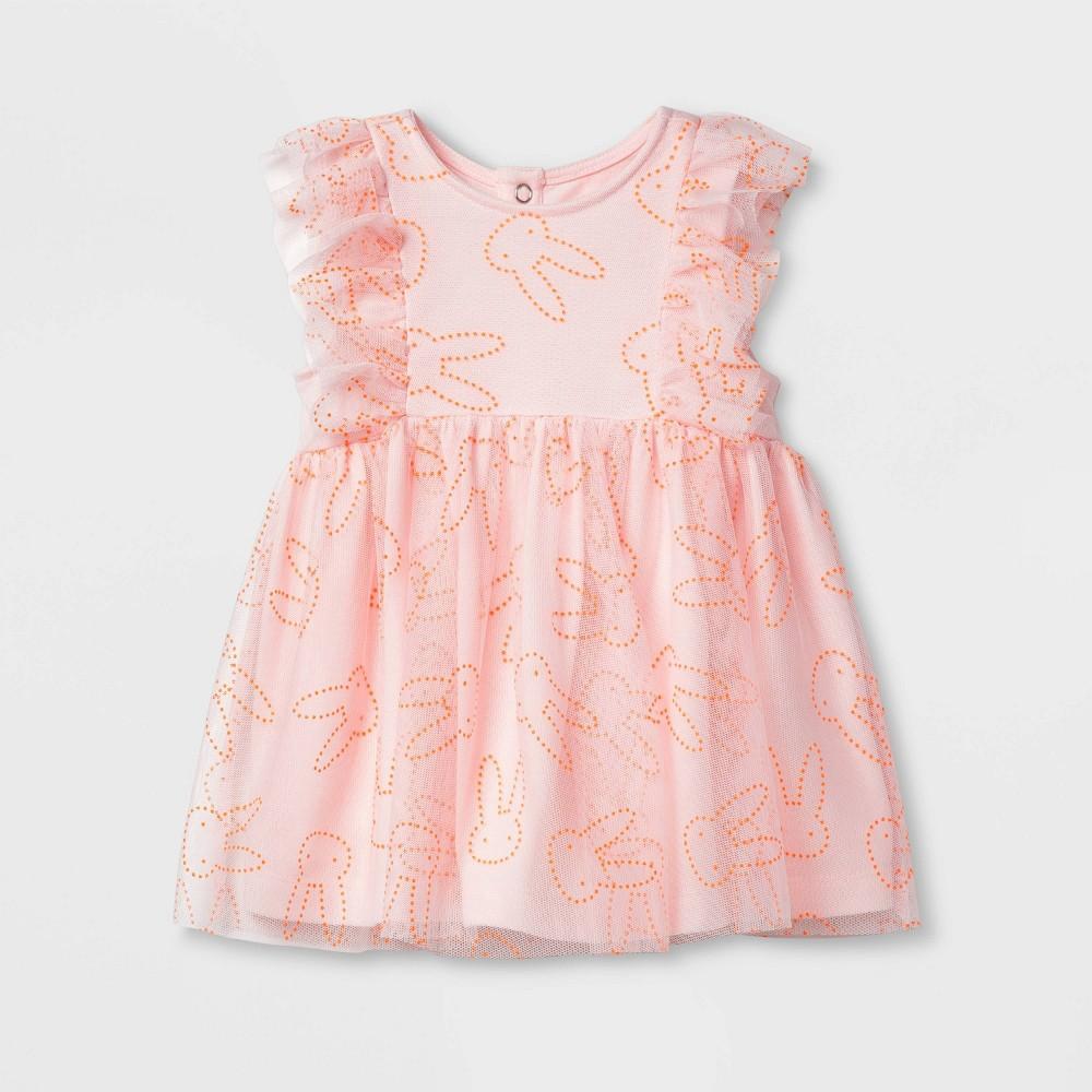 Image of Baby Girls' Bunny Dew Drop Dress - Cat & Jack Pink 0-3M, Girl's