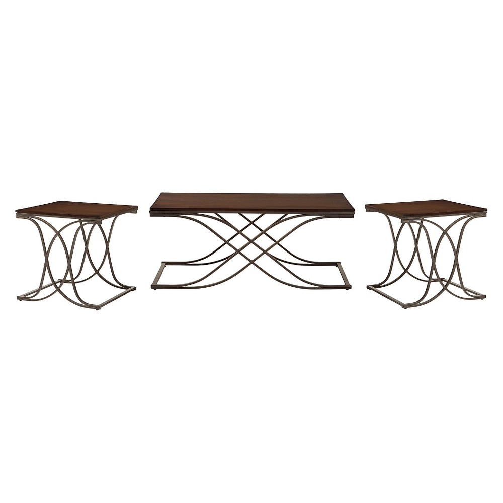 Terrance Wood and Antique Dark Bronze Finishing Metal 3-Piece Occasional Table Set - Walnut - Baxton Studio, Brown