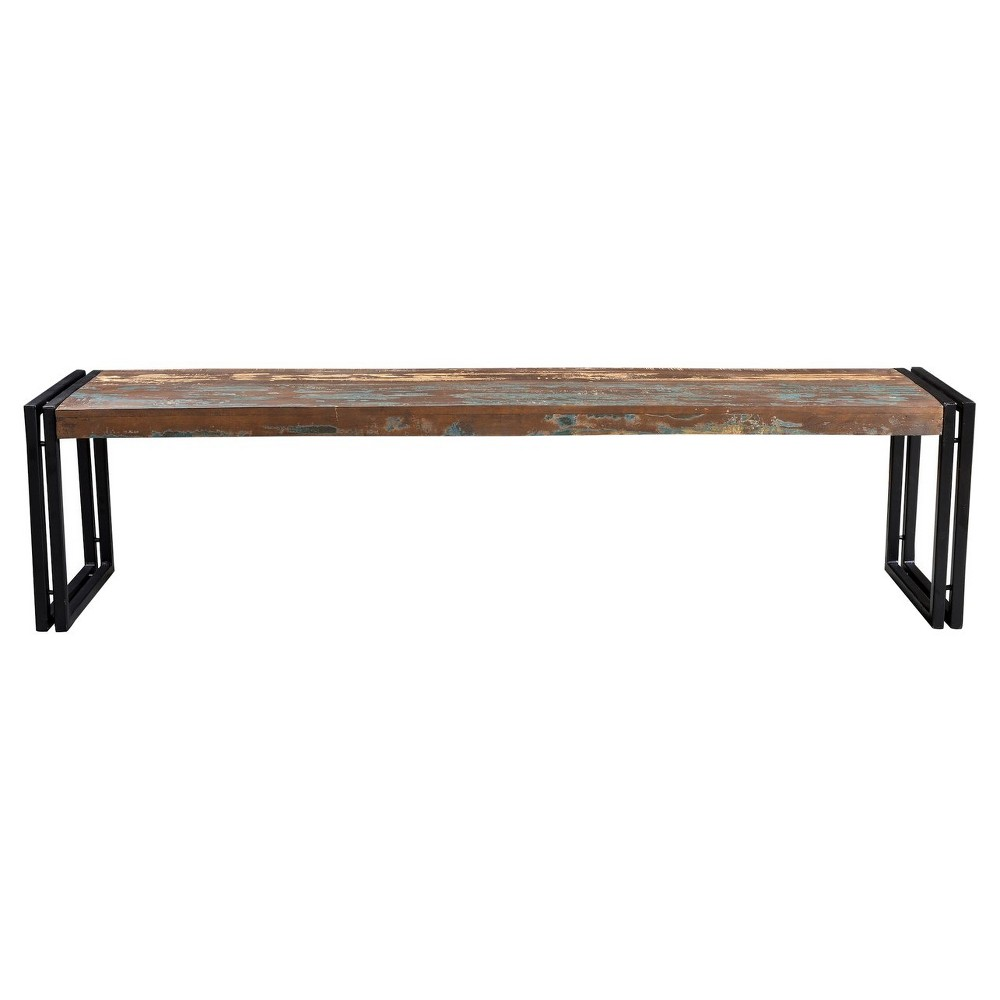 Old Reclaimed 50 Wood Bench with Iron Legs - Timbergirl, Multicolored