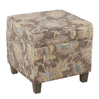 Upholstered Wooden Storage Ottoman with Lift Off Top and Tapered Feet Gray - Benzara