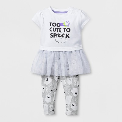 Baby Girls' 2pc Too Cute Short Sleeve Tutu Bodysuit and Leggings Set - Cat & Jack™ White 6-9M