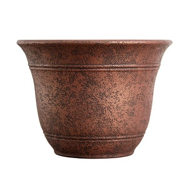 Listo SRA13001P05 13-Inch Round Outdoor Resin Sierra Planter for Flowers and Succulents, Rustic Redstone