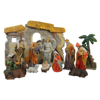 """Northlight 13-Piece Gray Traditional Religious Christmas Nativity Figurine with Stable 23.25"""""""