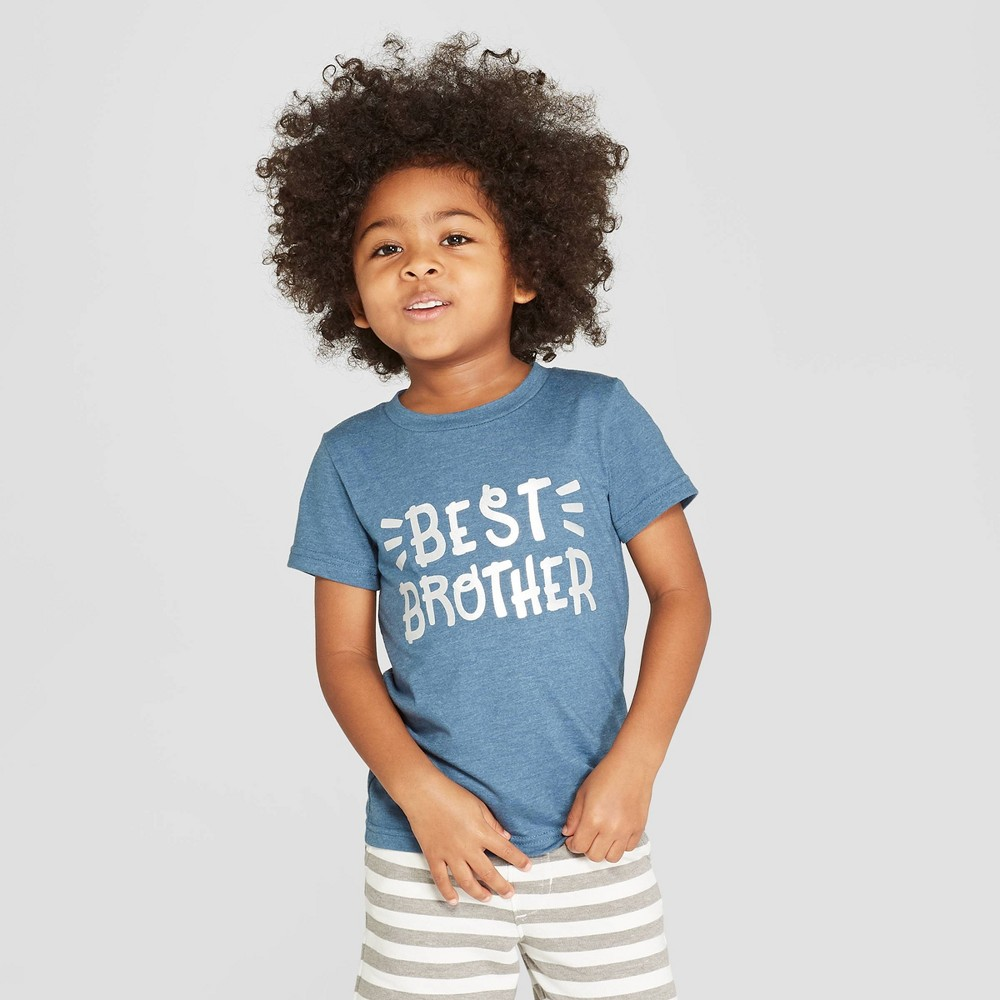 Toddler Boys' Short Sleeve Best Brother T-Shirt - Cat & Jack Blue 5T