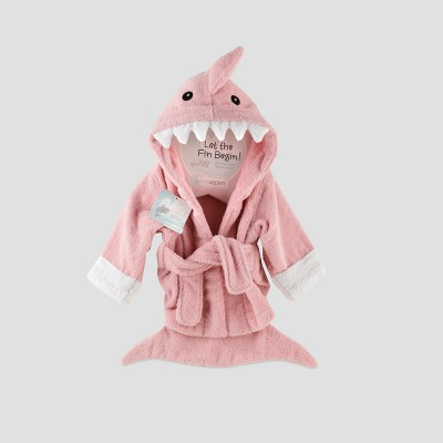 Baby Aspen Let the Fin Begin Shark Robe - Pink 0-9M