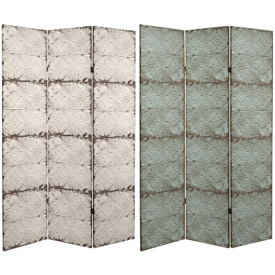 """6"""" Double Sided Antiqued Paneling Canvas Room Divider Gray - Oriental Furniture"""