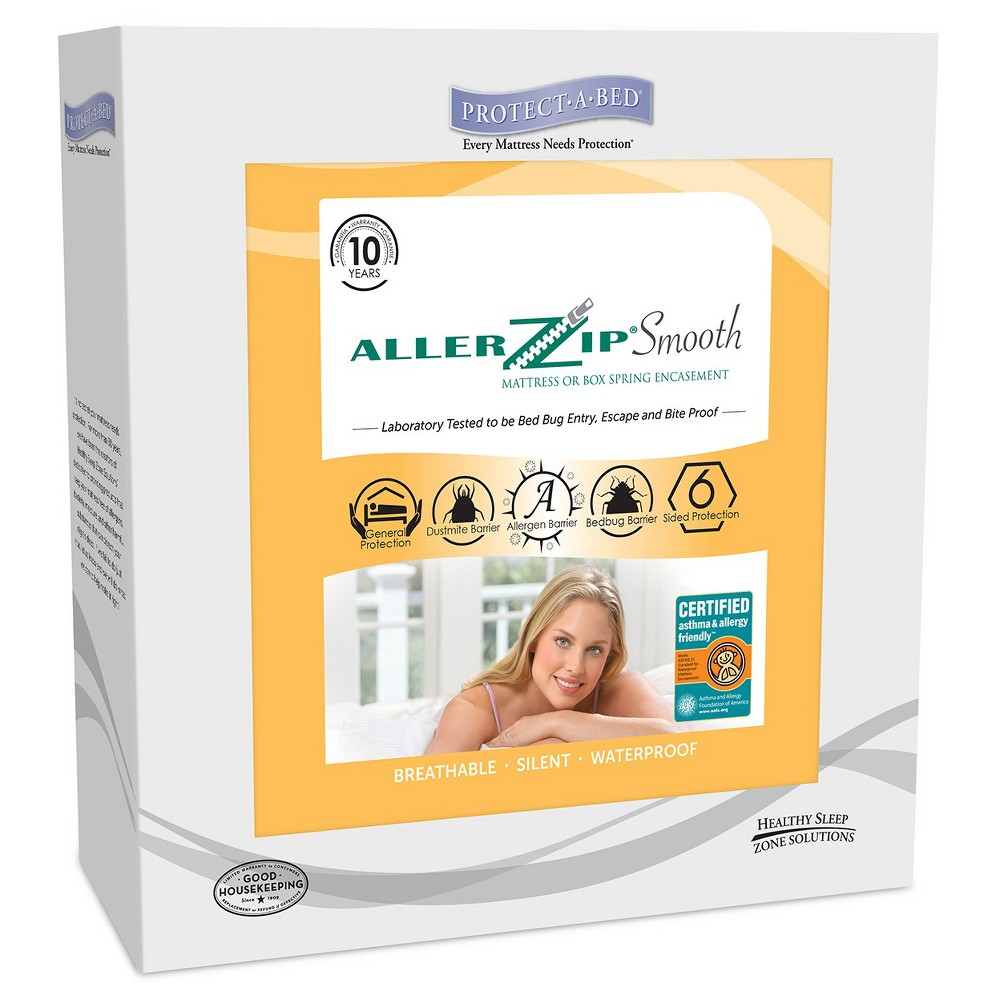 Protect-A-Bed Allerzip Smooth Anti-Allergy & bed bug proof Mattress Protector - White (Twin)