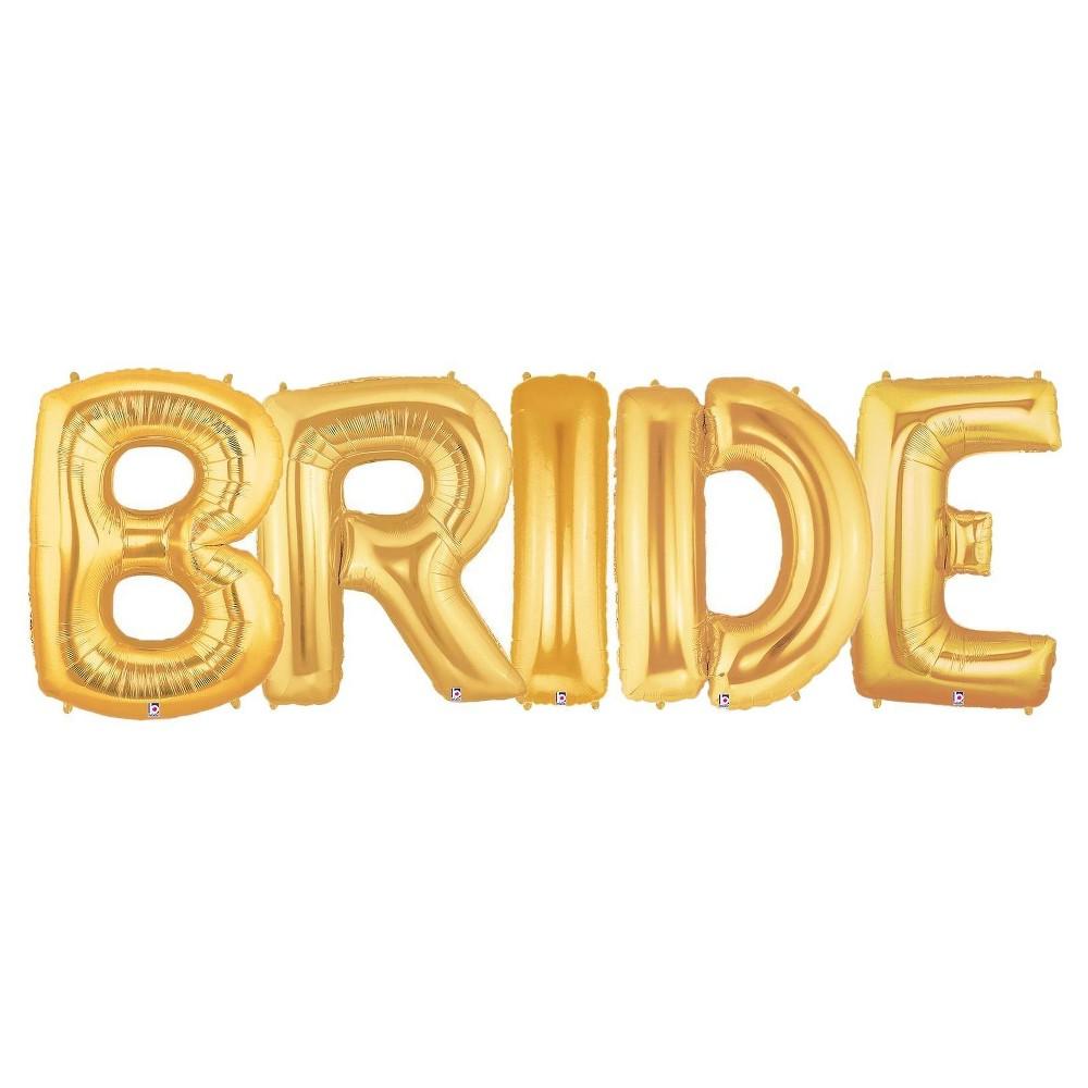 Jumbo Gold Foil Balloons - Bride