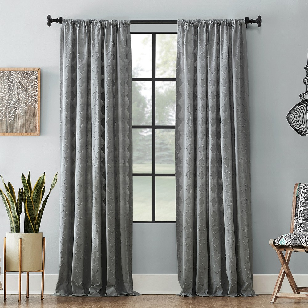 "Image of ""50""""x84"""" Diamond Fray Cotton Curtain Gray - Archaeo"""