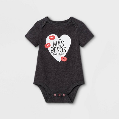 Baby Girls' 'Mas Besos' Short Sleeve Bodysuit - Cat & Jack™ Charcoal Gray 0-3M
