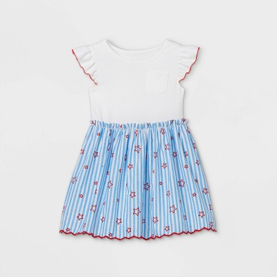 Toddler Girls' Striped with Stars Knit Woven Dress - Cat & Jack™ White