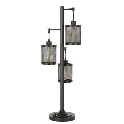 """37.5"""" Pacific Metal Table Lamp with Mesh Shade (Includes Light Bulb) Dark Bronze - Cal Lighting"""